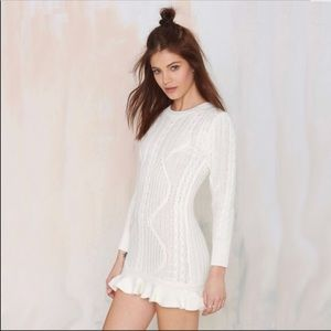 Revolve UNIF Alleger Cable Knit Sweater Dress